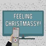 Word writing text Feeling Christmassy. Business concept for Resembling or having feelings of Christmas festivity Hand. Word writing text Feeling Christmassy vector illustration