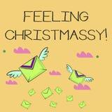 Word writing text Feeling Christmassy. Business concept for Resembling or having feelings of Christmas festivity Many. Word writing text Feeling Christmassy stock illustration
