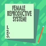 Word writing text Female Reproductive System. Business concept for responsible in reproduction of new offspring Stack of stock illustration