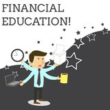 Word writing text Financial Education. Business concept for Understanding Monetary areas like Finance and Investing. Word writing text Financial Education vector illustration