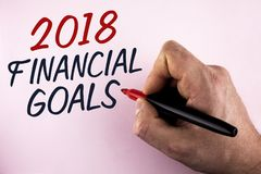 Word writing text 2018 Financial Goals. Business concept for New business strategy earn more profits less investment written by Ma. N holding Marker in Hand Royalty Free Stock Photography