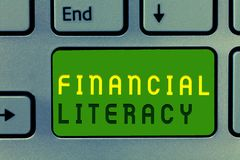 Word writing text Financial Literacy. Business concept for Understand and knowledgeable on how money works.  royalty free stock image