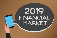 Word writing text 2019 Financial Market. Business concept for place where trading of equities, bonds, currencies Mobile text messa. Ge messenger smart touch Stock Photography