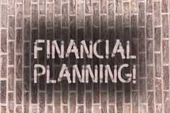 Word writing text Financial Planning. Business concept for Accounting Planning Strategy Analyze Brick Wall art like. Word writing text Financial Planning royalty free stock photo