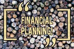 Word writing text Financial Planning. Business concept for Accounting Planning Strategy Analyze Wooden background. Word writing text Financial Planning. Business royalty free stock photography