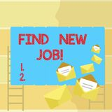 Word writing text Find New Job. Business concept for Searching for new career opportunities Solution to unemployment. Word writing text Find New Job. Business royalty free illustration