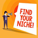 Word writing text Find Your Niche. Business concept for search for your field Decide Choice education Work. Word writing text Find Your Niche. Business concept stock illustration