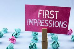 Word writing text First Impressions. Business concept for Encounter presentation performance job interview courtship written on Pi. Word writing text First Stock Photo