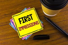 Word writing text First Impressions. Business concept for Encounter presentation performance job interview courtship written on St. Word writing text First Royalty Free Stock Photography