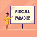 Word writing text Fiscal Paradise. Business concept for The waste of public money is a great concern topic.  royalty free illustration