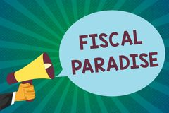 Word writing text Fiscal Paradise. Business concept for The waste of public money is a great concern topic.  stock illustration