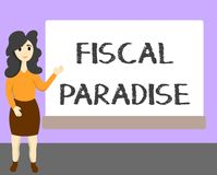 Word writing text Fiscal Paradise. Business concept for The waste of public money is a great concern topic.  vector illustration