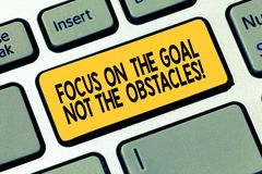 Word writing text Focus On The Goal Not The Obstacles. Business concept for Be determined to accomplish objectives. Keyboard key Intention to create computer royalty free stock photography