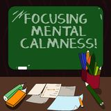 Word writing text Focusing Mental Calmness. Business concept for free the mind from agitation or any disturbance Mounted Blank. Color Blackboard with Chalk and vector illustration