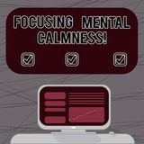 Word writing text Focusing Mental Calmness. Business concept for free the mind from agitation or any disturbance Mounted Computer. Screen with Line Graph on vector illustration