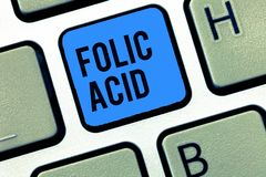 Word writing text Folic Acid. Business concept for Vitamin required for normal production of red blood cells royalty free stock photos
