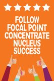 Word writing text Follow Focal Point Concentrate Nucleus Success. Business concept for Concentration look for target Men women han. Ds thumbs up approval five stock illustration