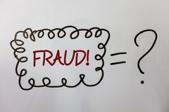 Word writing text Fraud Motivational Call. Business concept for Criminal deception to get financial or personal gain Ideas message. S doodle white background Stock Image