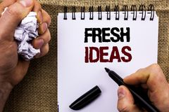 Word writing text Fresh Ideas. Business concept for Creative Vision Thinking Imagination Concept Strategy  written by Man Holding Royalty Free Stock Image