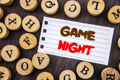 Word, writing, text Game Night. Conceptual photo Entertainment Fun Play Time Event For Gaming written on tear notobook paper on t. Word, writing, text Game Night royalty free stock images