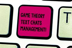 Word writing text Game Theory Social Media Management. Business concept for Gaming innovation marketing strategies. Keyboard key Intention to create computer stock image