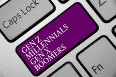 Word writing text Gen Z Millennials Gen X Boomers. Business concept for Generational differences Old Young people Keyboard purple stock images