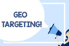 Word writing text Geo Targeting. Business concept for method of determining the geolocation of a website visitor Huge. Word writing text Geo Targeting. Business stock illustration