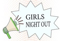 Word writing text Girls Night Out. Business concept for Freedoms and free mentality to the girls in modern era.  stock illustration