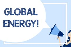 Word writing text Global Energy. Business concept for Worldwide power from sources such as electricity and coal Huge. Word writing text Global Energy. Business stock illustration