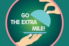 Word writing text Go The Extra Mile. Business concept for Give an additional do more than is expected from you Hu. Analysis Hands Serving Tray Platter and vector illustration
