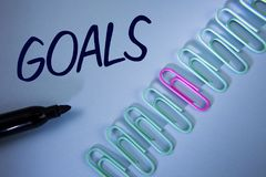 Word writing text Goals. Business concept for Desired Achievements Targets What you want to accomplish in the future written on Pl. Word writing text Goals stock photo