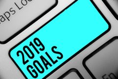 Word writing text 2019 Goals. Business concept for A plan to do for something new and better for the coming year Keyboard blue key. Intention create computer royalty free stock photo