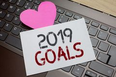 Word writing text 2019 Goals. Business concept for A plan to do for something new and better for the coming year Paper Romantic lo. Vely message Heart Keyboard royalty free stock image