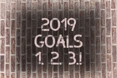 Word writing text 2019 Goals 1 2 3. Business concept for Resolution Organize Beginnings Future Plans Brick Wall art like. Word writing text 2019 Goals 1 2 3 stock images