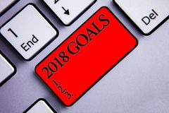 Word writing text 2018 Goals 1. 2. 3.. Business concept for Resolution Organize Beginnings Future Plans Display several silvery ar. Row key focused red button royalty free stock photography