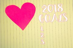 Word writing text 2018 Goals 1. 2. 3.. Business concept for Resolution Organize Beginnings Future Plans Light pink heart symbol wh. Ite paper backstage with stock images