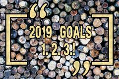 Word writing text 2019 Goals 1 2 3. Business concept for Resolution Organize Beginnings Future Plans Wooden background. Word writing text 2019 Goals 1 2 3 royalty free stock photos