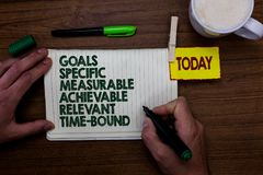 Word writing text Goals Specific Measurable Achievable Relevant Time Bound. Business concept for Strategy Mission Man holding mark. Er notebook clothespin royalty free stock photography
