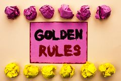 Word writing text Golden Rules. Business concept for Regulation Principles Core Purpose Plan Norm Policy Statement written on Pink. Word writing text Golden Royalty Free Stock Photos