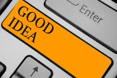 Word writing text Good Idea. Business concept for State of human brain to bring great intelegence towards something Keyboard orang. E key Intention create royalty free stock photo