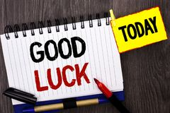 Word writing text Good Luck. Business concept for Lucky Greeting Wish Fortune Chance Success Feelings Blissful written on Notebook. Word writing text Good Luck Stock Photography