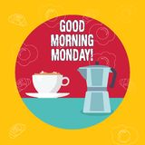 Word writing text Good Morning Monday. Business concept for Happy Positivity Energetic Breakfast. Word writing text Good Morning Monday. Business photo royalty free illustration