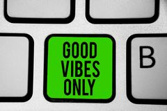 Word writing text Good Vibes Only. Business concept for Just positive emotions feelings No negative energies Keyboard green key In. Tention create computer Stock Photo