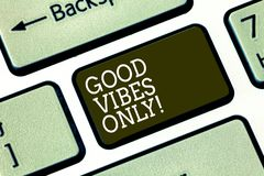 Word writing text Good Vibes Only. Business concept for Just positive emotions feelings No negative energies Keyboard. Key Intention to create computer message royalty free stock images