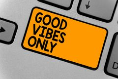 Word writing text Good Vibes Only. Business concept for Just positive emotions feelings No negative energies Keyboard orange key I. Ntention create computer Royalty Free Stock Photo