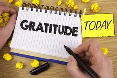 Word writing text Gratitude. Business concept for Quality of being thankful Appreciation Thankfulness Acknowledge written by Man o. Word writing text Gratitude Royalty Free Stock Photo