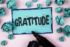 Word writing text Gratitude. Business concept for Quality of being thankful Appreciation Thankfulness Acknowledge written on Stick. Word writing text Gratitude Stock Image