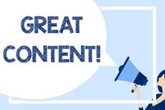 Word writing text Great Content. Business concept for valuable text matter of a document or publication in any form Huge. Word writing text Great Content royalty free illustration