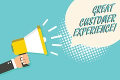 Word writing text Great Customer Experience. Business concept for responding to clients with friendly helpful way Man holding mega. Phone loudspeaker speech royalty free illustration