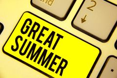 Word writing text Great Summer. Business concept for Having Fun Good Sunshine Going to the beach Enjoying outdoor Keyboard yellow. Key Intention create computer royalty free stock images